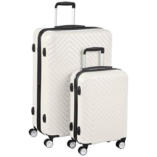 AmazonBasics - Trolley con motivo geometrico, Set da 2 pezzi (55 cm, 78 cm), Panna