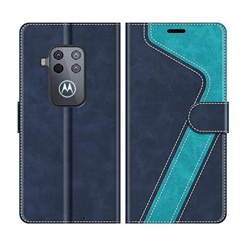 MOBESV Handyhülle für Motorola One Zoom Hülle Leder, Motorola One Zoom Klapphülle Handytasche Case für Motorola One Zoom Handy Hüllen, Modisch Blau