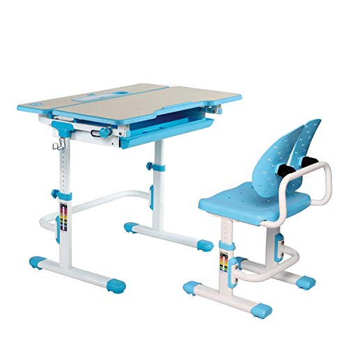 Kids Ergonomic Height Adjustable Study Desk Chair with Wood Grain Surface & Compartment Drawer, Castello Series, Blue
