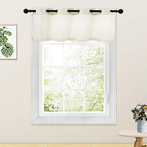 Ivory Valance Curtains Living Room 18 inch Long Linen Textured Curtain Valance Bedroom Windows Curtain Panels Grommet Top 1 Piece