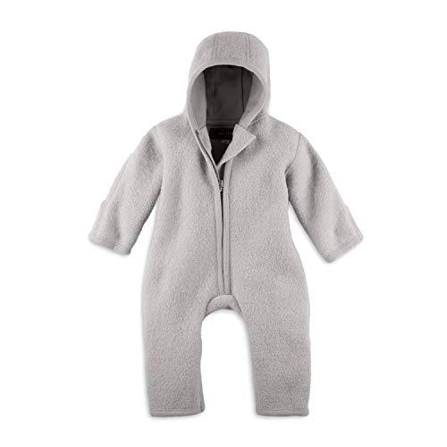 Halfen Walkanzug Baby (100% Made in Germany) - Walk Baby Overall, Babyoverall aus Walkwolle (Bio Natur Schurwolle), Walkoverall mit Kapuze, Flieder, 74-80