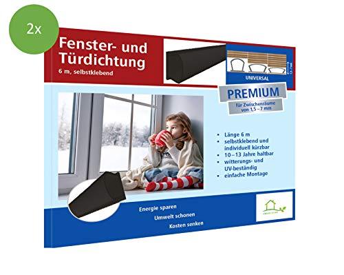Raamafdichting zelfklevende deurafdichting, zelfklevend, van silicone, voor deur- en raamspleten, tegen tocht, lawaai en stof, voor spleten van 1,5 – 7 mm 2x 2 x 3 m - 2er Set zwart