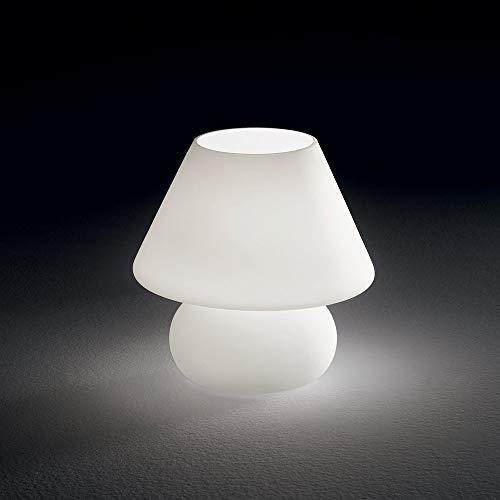 abat jour lampada moderna da comodino lumetto per camera da letto vetro bianco