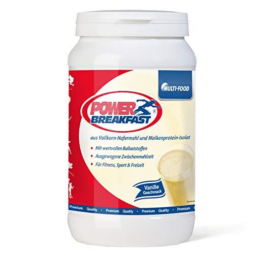 Power Breakfast – Ein sättigender Weight Gainer mit Vollkornhafer und Molkenpotein-Isolat zum Zunehmen oder als Mahlzeitenersatz in einer Diät mit einem geringen glykämischen Index (1000g Vanille)