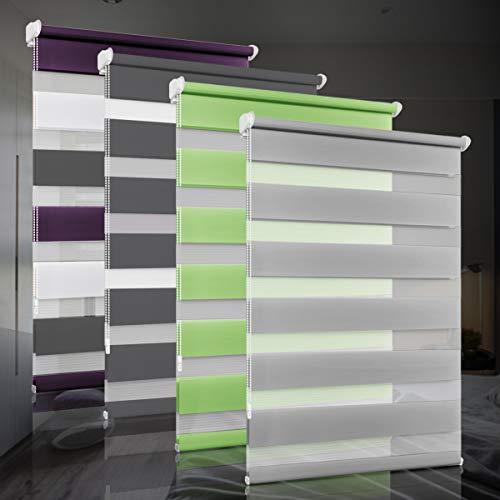 bobodeco Doppelrollo klemmfix ohne Bohren Duo Rollos für Fenster mit Klemmträger, Fensterrollo lichtdurchlässig & verdunkelnd Wandmontage Sichtschutz- Grau,110x120c (BxH)