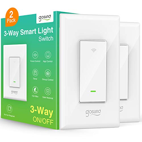 Smart Switch, Gosund 3 Way Light WiFi Switch Works with Alexa and Google Home, Schedule Timer, Neutral Wire Required, Single-Pole and 3-Way Installation, No Hub Required, ETL and FCC Listed (2-Pack)