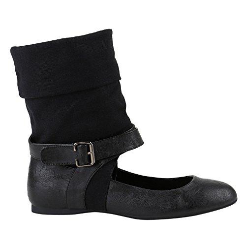 Extravagante Damen Schuhe Stiefeletten Stulpen Cut-Outs Sock Boots Flats 142118 Schwarz Schnalle 38 Flandell