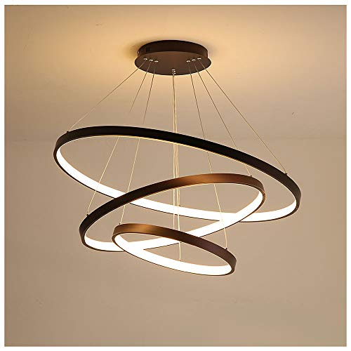 72W Lampadario a LED circolare moderno Lampada a sospensione regolabile Illuminazione a soffitto coperta 3- Design ad anello in lega di alluminio Lampada a sospensione Dimmer continuo 3000-6500k,Nero