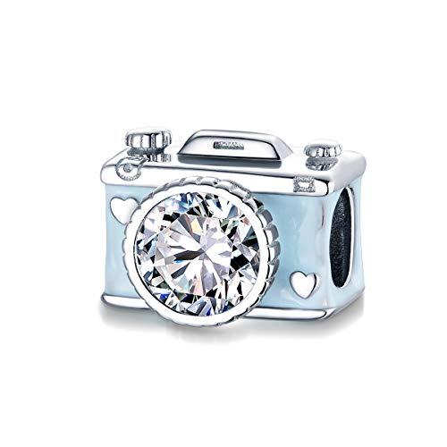 BAMOER 925 Sterling Silber Charm Perle Süße Kamera Charms für Pandora Armband Halskette Fangen Leben Geschenk für Frauen Mädchen