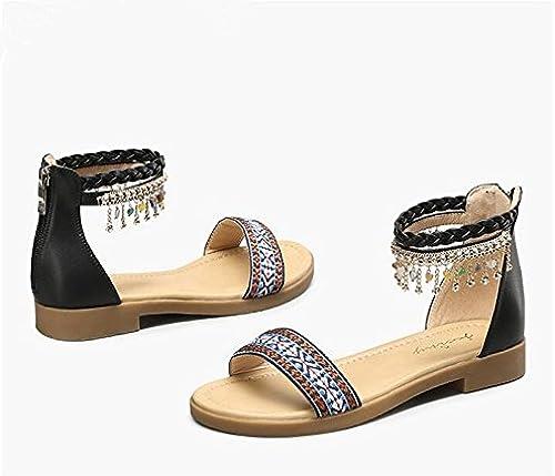 RUGAI-UE La Mode des Femmes d'été Confortables Sandales Hauts Talons,Or 38