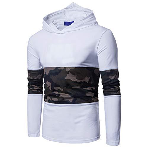 XWLY Pullovers Herren Sweatshirt Herren Frühling Und Herbst Mode Boutique Trends Laufen Sport Fitness Herren Tops Camouflage Patchwork Herren Pullovers White. 3XL
