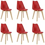 SKM Chaises 6 pcs Rouge Plastique Chaise Scandinave pour Salle à Manger