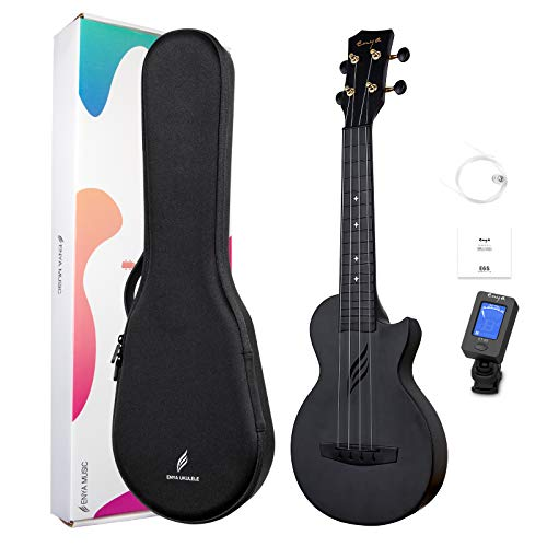Soprano Ukulele Enya Nova U Mini 21 inch Beginner professional Cutaway Carbon Fiber Travel Ukuleles Kit Includes Case Strings Tuner(black)