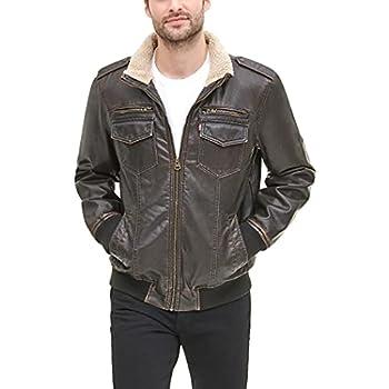 Levi s Men s Faux Leather Sherpa Aviator Bomber Jacket Dark Brown Large