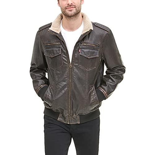 Levi's Men's Faux Leather Sherpa Aviator Bomber Jacket, Dark Brown, Small