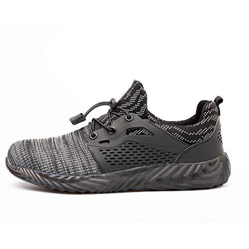 Firtsagy Sicherheitsschuhe Arbeitsschuhe Herren Damen Stahlkappen S3 Schutzschuhe Atmungsaktiv Sportlich Sneaker Unisex,Grau B,48 EU
