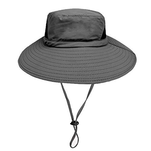 Chapeau de Soleil en Plein air - 50UV Protection Solaire Bonnet en Nylon à Larges Bords - Séchage Rapide Chapeau d'été étanche pour la pêche Randonnée Camping Nautique - Dragon Flame (Gris foncé)