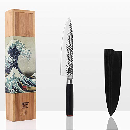 KOTAI Professionelles Kochmesser - Japanischer 440C Kohlenstoffstahl Küchenmesser - 8-Zoll-Kochmesserklinge mit schwarzem Pakkaholzgriff - Gyuto Japanisches Messer mit Messerschutz