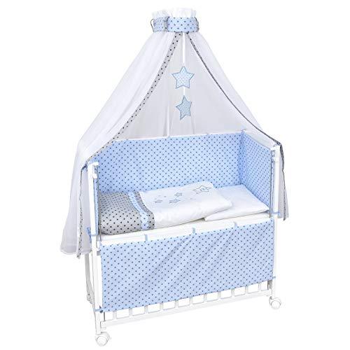 Baby Delux Beistellbett Magic Stars blau Stubenwagen mobil Babybett Holz weiß 90x40cm inkl. Matratze und Komplett Bettset mit Stickerei
