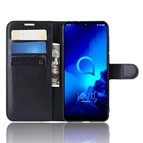 DAMAIJIA für Alcatel 3L 2019 Hüllen Klapphülle PU Leder Silikon Wallet Schutzhülle Schutz Mobiltelefon Flip Back Cover für Alcatel3L 2019 5039D Tasche Handy Zubehör (Black)