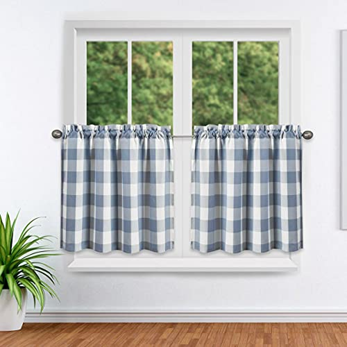 """Tier Curtain for Kitchen Set of 2,Farmhouse Living Buffalo Check Window Kitchen Tier for Bathroom/Kitchen Windows (24"""" L, Blue and White)"""