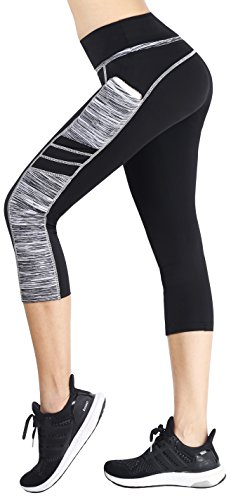 Sugar Pocket Women's Capris Tights Workout Running Leggings Yoga Pants S (BK/Grey)
