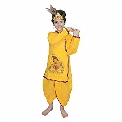 Dress your baby in form of Krishna with this elegant dress with required accessories. Special for-Performance,Festive season,function, Janmashtmi Special. Fabric Material :Cotton. Sales Package : 1 Dhoti, 1 Kurta, 1 Mala, 1 Mukut, 1 basuri, 1 earring...