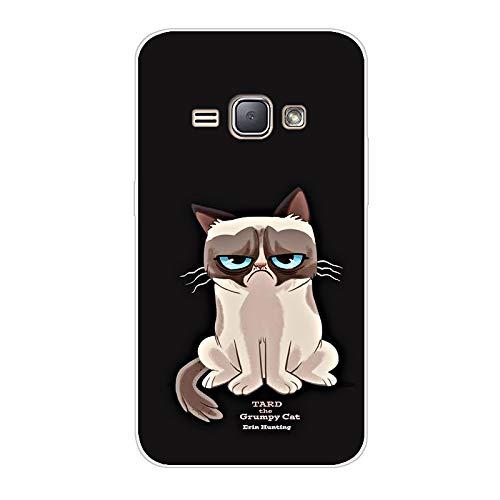 Aksuo for Samsung Galaxy J1 2016 Hülle Silikon, TPU Silikonhülle Handyhülle Kratzfest Durchsichtige Stylisch Muster Design Robust Leicht Passgenau Case - Grumpy Cat