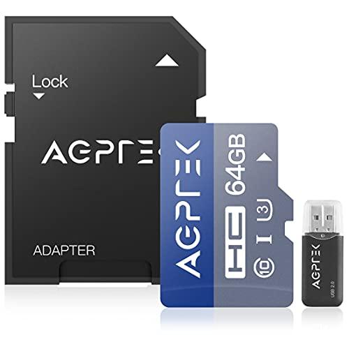 AGPTEK Carte Mémoire de 64Go avec Lecteur de Cartes SD, Carte Micro TF Compatible avec GPS, Tablettes PC, Appareils Photo Numériques et Tout MP3 AGPTEK- Noir et Bleu