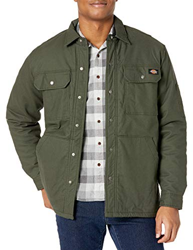 Dickies Flex Duck Shirt Jacket Abrigo de utilidades de Trabajo, Verde Oliva, XXL para Hombre
