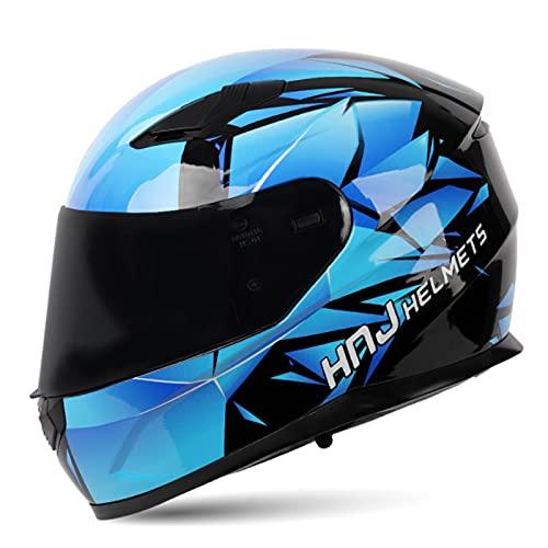Casco Moto Modular con Doble Visera Integral Scooter Dot/ECE Homologado para Adultos con Doble Visera Anti-rasguños y Protección Rayos UV Mujer Hombre Adultos 54-61CM,Blue 2,XXL