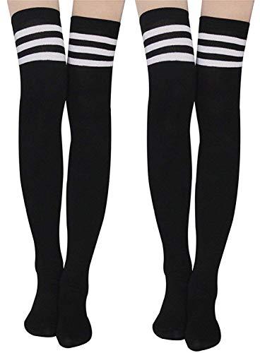 Damen Kniestrümpfe - Overknee Strümpfe Streifen Lange Socken Retro Knitting Strümpfe Mädchen Cheerleader Sportsocken Baumwollstrümpfe (Schwarz-Schwarz1)