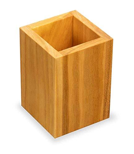 Stiftebox aus Holz | Maße 6,2 x 6,2 x 10 cm | Stiftehalter aus Kirschholz, eckig