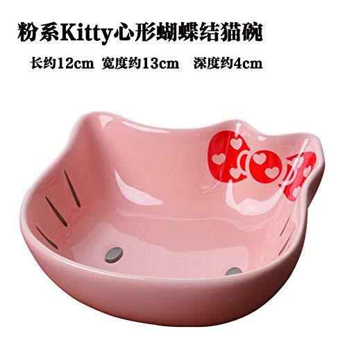 Keramik-Katze Schüssel doppelte Schüssel Katze Futternapf Katze Schüssel Katze Wasserschüssel Reisschüssel Katze Futternapf Katze Schüssel Haustier Hundenapf Herzförmige rosa Fliege kitty cat Schüssel
