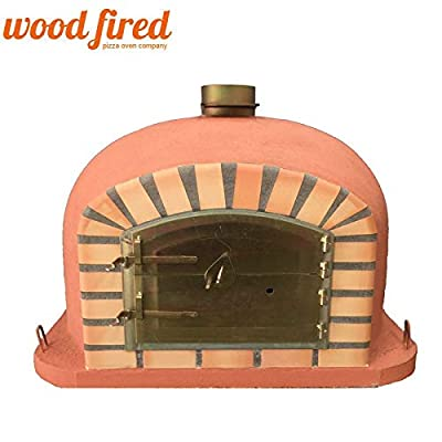 Terracotta Deluxe Wood Fired Pizza Oven, Orange Arch, Gold Door, 100cm x 100cm from Woodfired