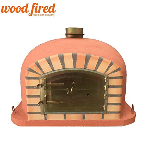 Terracotta Deluxe Wood Fired Pizza Oven, Orange Arch, Gold Door, 100cm x 100cm