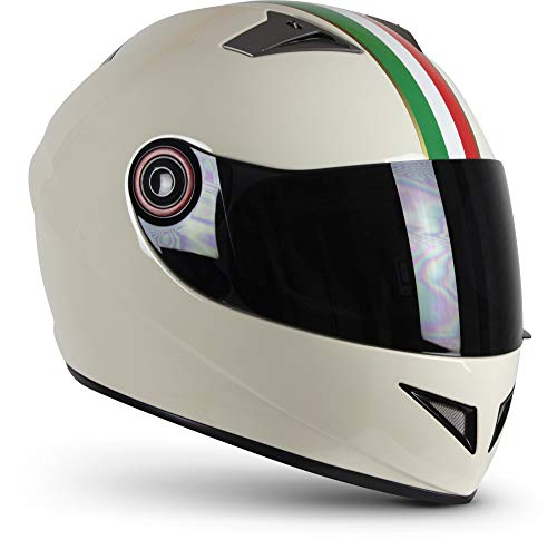 Soxon® ST-666 Deluxe Titan Casco integral de moto, scooter, Cruiser Sturz-Helm StreetFighter, Sport ECE 22.05, visera de cierre rápido, bolsa XS-XL, 53-62 cm