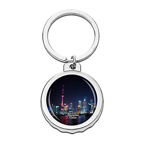 Hqiyaols Keychain China Der Bund Shanghai Cap Flaschenöffner Schlüsselbund Creative Kristall Rostfreier Stahl Schlüsselbund Reisen Andenken