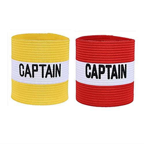 CMLLING Brazalete de capitán elástico para fútbol, brazalete de capitán para jóvenes y adultos (2 unidades) (amarillo + rojo)