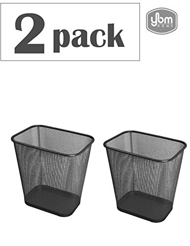 Ybmhome Steel Mesh Rectangular Open Top Waste Basket Bin Trash Can for Office Home 8x12x12 Inches 1103s-2 (2, Black)