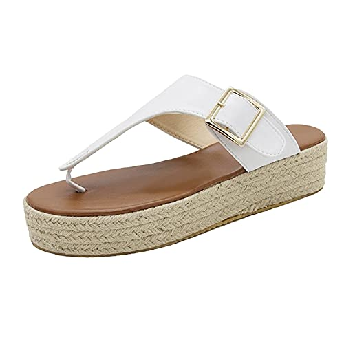 Lousioa Women's Summer Bowknot Open Toe Shoes Large Size Slippers Slip On Braided Strap Flip Flat Beach Sandals White 41