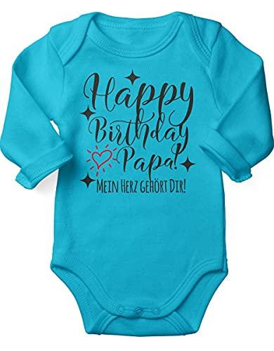 Mikalino miKalino Babybody mit Spruch für Jungen Mädchen Unisex Langarm Happy Birthday Papa! Mein Herz gehört Dir!   handbedruckt in Deutschland   Handmade with love, Farbe:atoll, Grösse:56