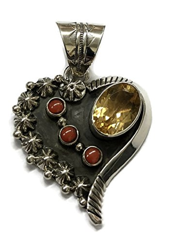 Chaco Canyon Couture .925 Sterling Silver Coral and Citrine Heart Pendant Native American Handcrafted Jewelry Navajo Tribe