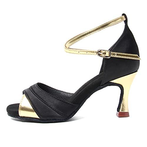 HIPPOSEUS Women's Latin Dance Shoes Ballroom Party Dance Practice Performance Shoes Suede Sole Heel Height 7cm,Gold, 7 B(M) US