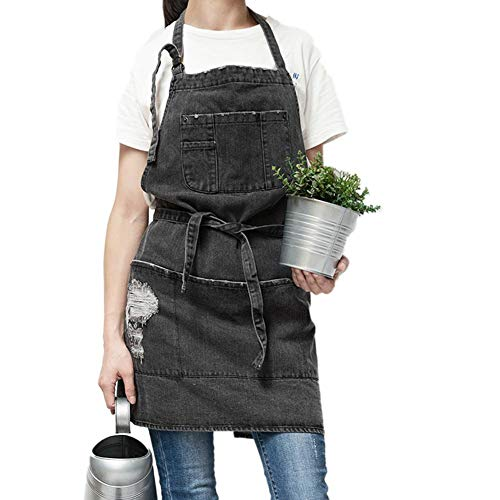 Fancylande schort van denim, plank-schort, werkschort van denim met 4 zakken, kookschort voor keuken, grill, tuin, kelder, barista, drie kleuren