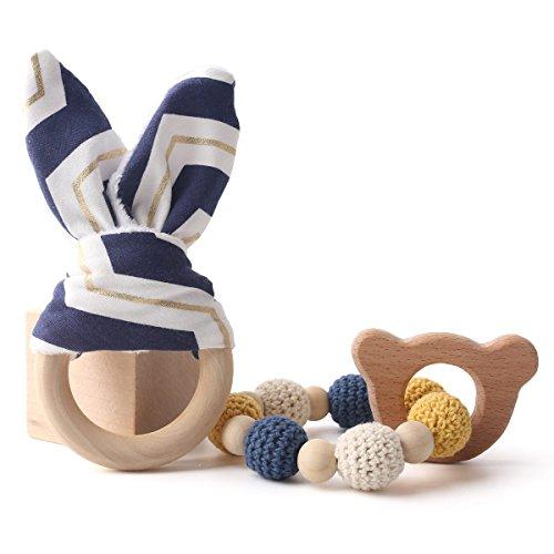 baby tete Anneaux de dentition Bunny Ear 1set / 2pc Jouet de gym pour bébé sensoriel Jouet de chew en bois Toy Set de dents de bébé