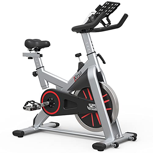 KLL Stationary Bike, Indoor Cycling Bike Stationary, Belt Drive Indoor Exercise Bike for Home Cardio Gym, with 35 LBS Upgraded Solid Flywheel, LCD Display & Comfortable Seat Cushion
