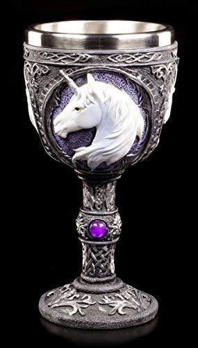 Figuren Shop GmbH Kelch mit Einhorn lila - Unicorn Elixir | Fantasy Weinglas