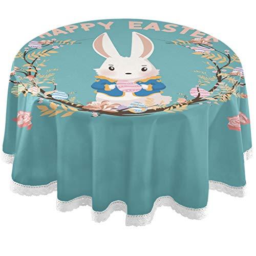 Oarencol Mantel redondo Happy Easter con diseño de conejo, flor de conejo de 152 cm, lavable, poliéster, para mesa de bufet, fiesta, cena, picnic