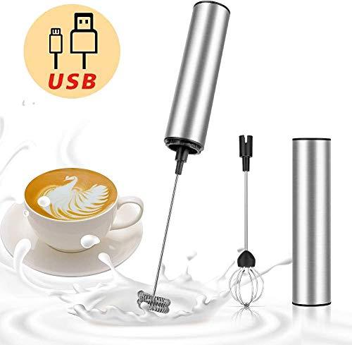 Guiseapue Montalatte Elettrico USB Ricaricabile Acciaio Inossidabile Frullino Montalatte Portatile Schiumatore Frullino Per Caffè Latte Cappuccino Uova
